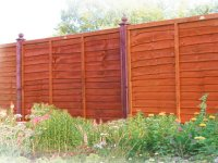 Traditional Lap Panel Fencing with wooden vertical posts topped with a finial.